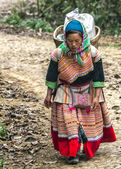 Hmong woman with loaded basket on her back comes around the bend in the road. — Stock Photo