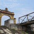 Vietnam DMZ - triumphal arch on North Vietnamese side of bridge. - Stock Photo