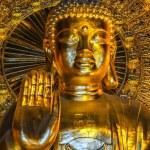 Vietnam Chua Bai Dinh Pagoda: Close up of bust Giant Golden Buddha. — Stock Photo #18746545