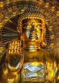 Vietnam Chua Bai Dinh Pagoda: Close up of bust Giant Golden Buddha. — Stock Photo