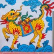 Vietnam Quang Binh Province: Chinese dragon painting on wall at family grave plot. — Foto de Stock   #25372461