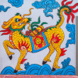 Vietnam Quang Binh Province: Chinese dragon painting on wall at family grave plot. — Stockfoto #25372461