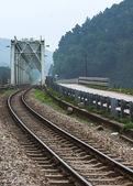 Vietnam: train bridge and track. — Stock Photo