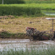 Stock Photo: Farmer plows through muddy rice paddy with motorized machine.