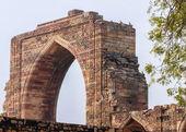 Antik arapça ağ geçidi qut'b delhi'de minar at üstünde papağan. — Stok fotoğraf