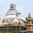 Massive white Sitting Buddha statue at Vinh Trang Pagoda, Vietna — Stock Photo