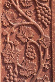 Mural sculpture of grape vines in red standstone at Fatehpur Sik — Stock Photo