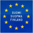 European sign with the name of Finland in three languages. — Stock Photo