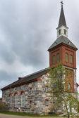 A igreja de utsjoki no norte da lapônia, finlândia. — Fotografia Stock