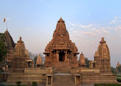 Hindu temple at Western site in India's Khajuraho at sunrise. — Stock Photo