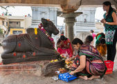 Worshiping Nandi at Sri Naheshwara in Bangalore. — Stock Photo