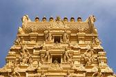 Top of golden tower at Sri Nageshwara in Bangalore. — Stock Photo