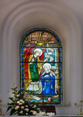 Stained glass window at Saint Mark's Cathedral in Bangalore. — Stock Photo