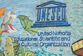 UNESCO logo on longest mosaic wall in the world. — Stock Photo