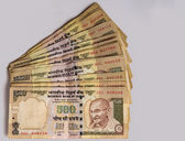 A bunch of five-hundred rupee notes, the Indian currency. — Stock Photo