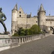 Lange Wapper statue and Antwerp Castle AKA Steen (stone). — Stock Photo