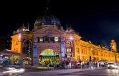 Melbourne: Flinders station at night — Stok fotoğraf