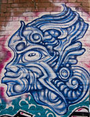 Graffiti blue warrior mask — Stock Photo