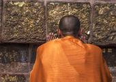 Buddhist monk prays at the Dhamekh Stupa. — Stock Photo