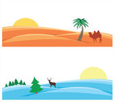 Snowy and sandy deserts — Stock Vector