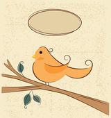 Bird on a branch and speech bubbles — Stock Vector