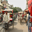 A tricycle rickshaws on the streets Delhi — Stock Photo