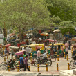 Busy street Main Bazar, Paharganj, in Delhi, India. - Stock Photo
