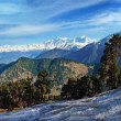 Panoramic view of the high snow capped mountains — Stock Photo