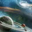 Planet with numerous prominent ring system — Stock Photo