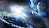 Planet i meteoryty w przestrzeni — Zdjęcie stockowe