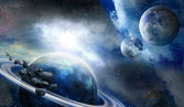 Planets and meteorites in space — 图库照片