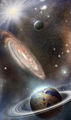 Planets and galaxies in space — Stock Photo