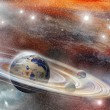 Stock Photo: Planet in space with numerous ring system