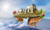 Castle on the flying island in sky — Stock Photo