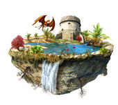 Island with a dragon and tower castle — Stock Photo
