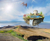 Island dragon flying over a mountain landscape — Stock Photo