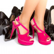 High heels in different colours, womans leg, girls leg, female foot — Stock Photo