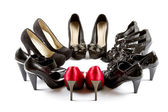 High heels red and black — Stock Photo