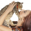 Cat and young woman — Stock Photo