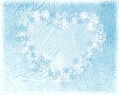 心と雪で冬の背景 — ストック写真