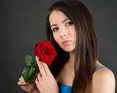 Woman with flowers — Stock Photo