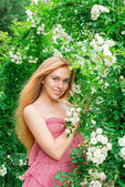 Woman near the roses — Stock Photo