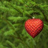 Kerstmis decoratie rood hart — Stockfoto