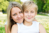 Portrait of boy and girl close-up — Stock Photo