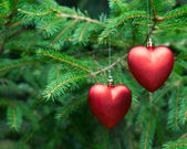 Christmas decoration two hearts — Stock Photo