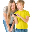 Boy and girl watching video on the phone — Stock Photo