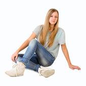 Ügyfélszolgálati diszpécsereink a hivatalban dolgozó床に座って十代の少女 — ストック写真