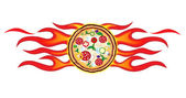 Pizza flames project — Stock Vector