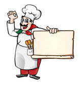 Italian chef with sign — Stock Vector