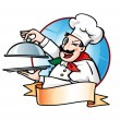 Chef presenting the dish - Stock Vector